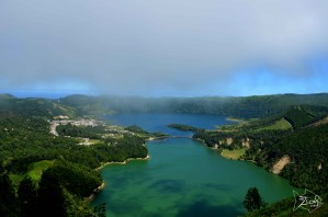 Amazing lake view from the terrace of the Monte Palace haunted Hotel. Sete Cidades, Sao Miguel Azores