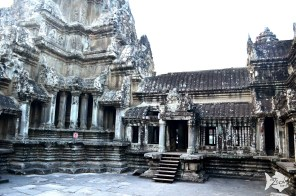 The middle tower of Angkor Wat symbolizes the sacred mountain, mount Meru.