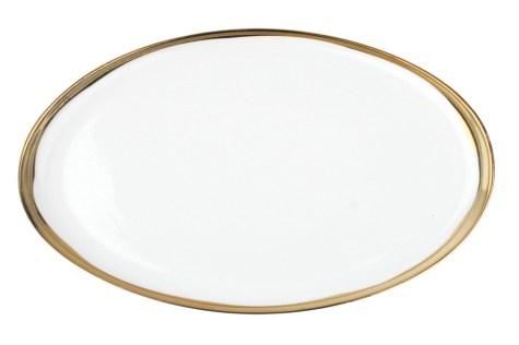 Gold Rimmed Oval Platter $50