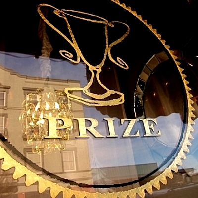 Prize logo in store window