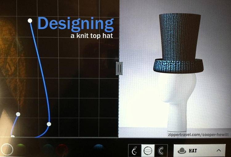 Digital rendering of a knitted top hat design at the Cooper-Hewitt Museum in NYC