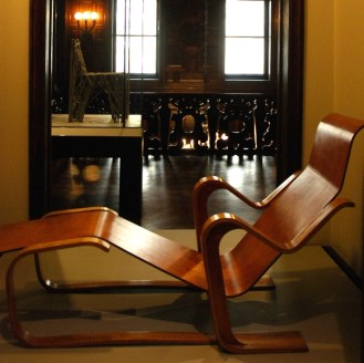 Wooden lounge chair at the Cooper-Hewitt Museum in NYC