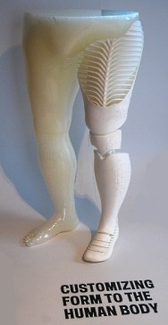 Prosthetic leg created with the use of a 3D printer at the Cooper-Hewitt Museum