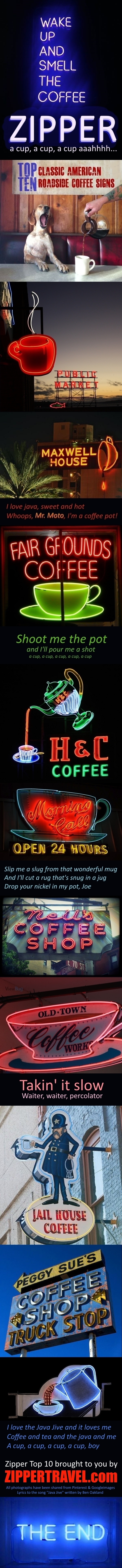Zippertravel's top 10 cofffee signs across America selected from images shared on Pinterest