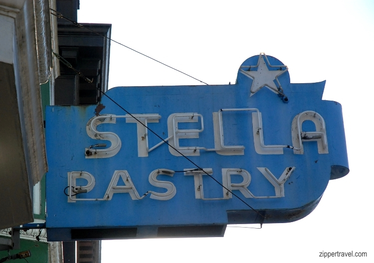 Stella Pastry neon sign North Beach San Francisco California