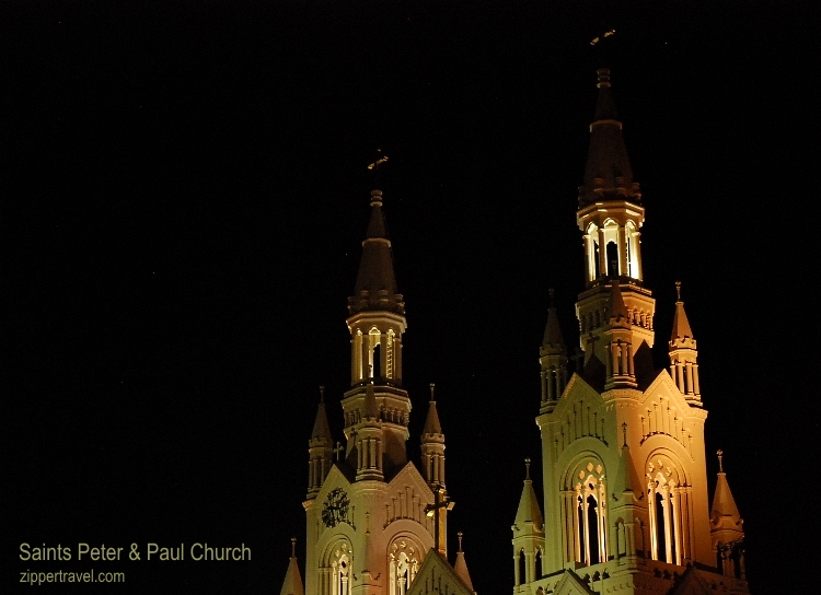 Saints Peter and Paul Church towers night North Beach San Francisco