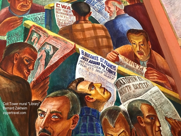 men reading newspapers library mural by bernard zakheim coit tower north beach san francisco california