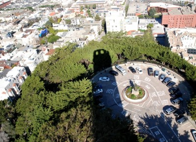 Coit tower shadow north beach san francisco california