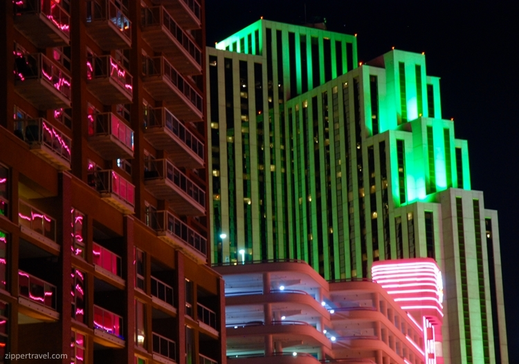 buildings colored lights night reno nevada