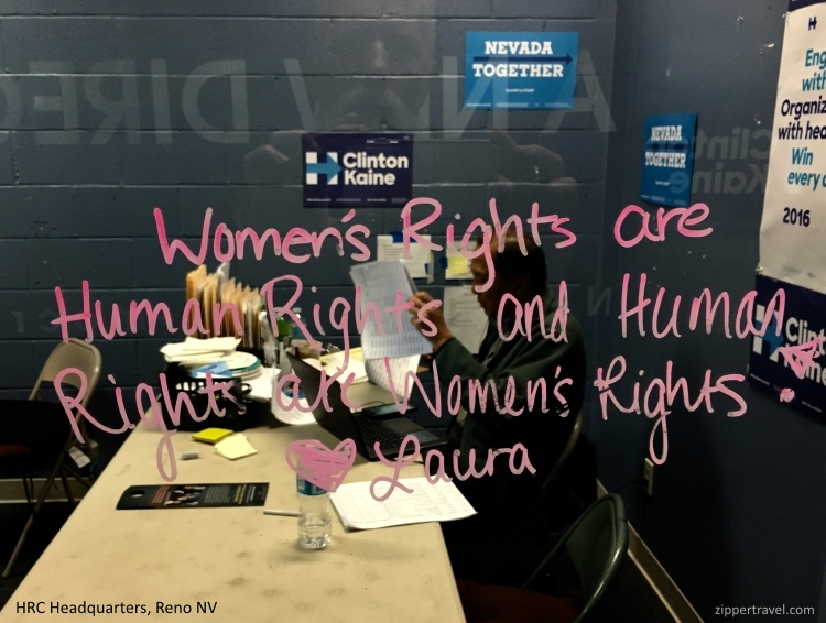 window sign women's rights hillary clinton campaign headquarters reno nv