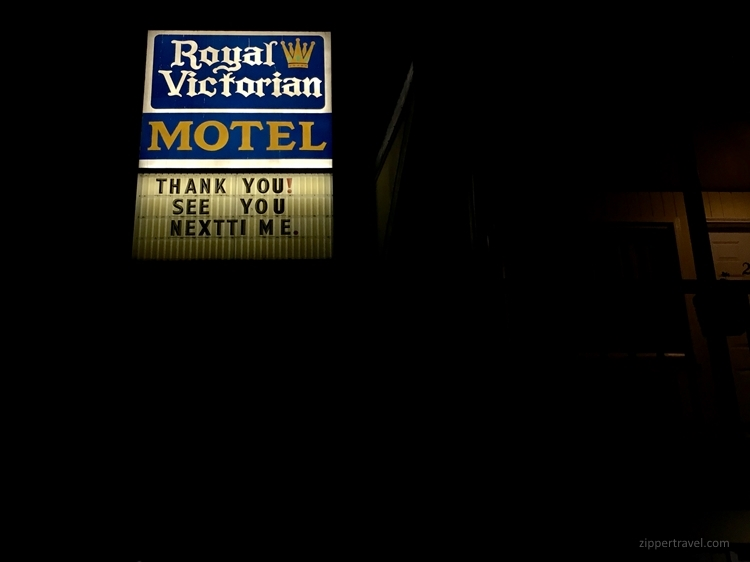 Royal Victorian Motel next time sign Port Angeles Washington