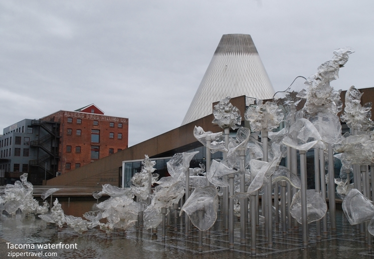 Fountain lofts glass cone Tacoma Washington Waterfront