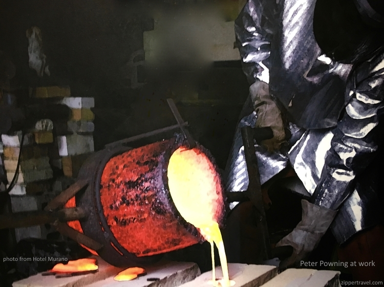 Molten glass Peter Powning working photograph Hotel Murano Tacoma Washington
