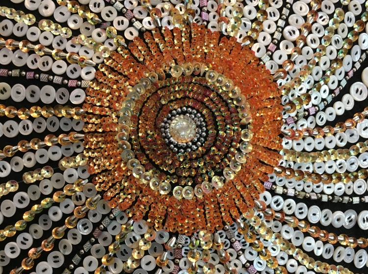 Nick Cave Soundsuit beaded detail Anderson Collection Stanford University