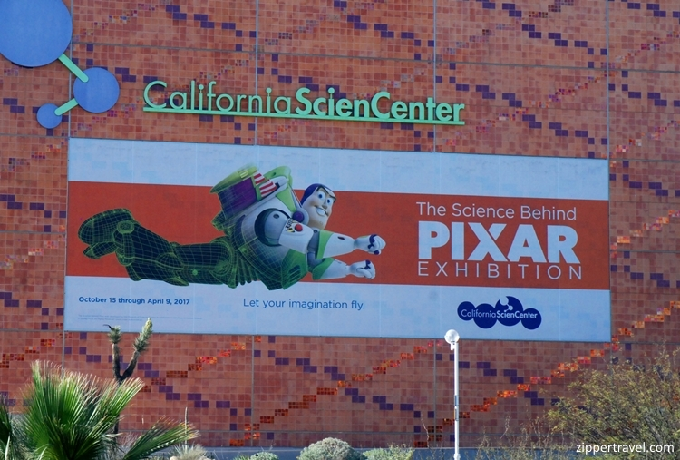 Exterior Califorinia Science Center Pixar signage