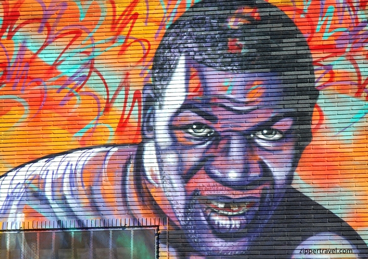 Mike Tyson mural City of Angels Boxing near California Science Centert