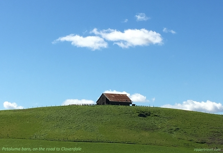 Barn green hill clouds enroute Cloverdale California
