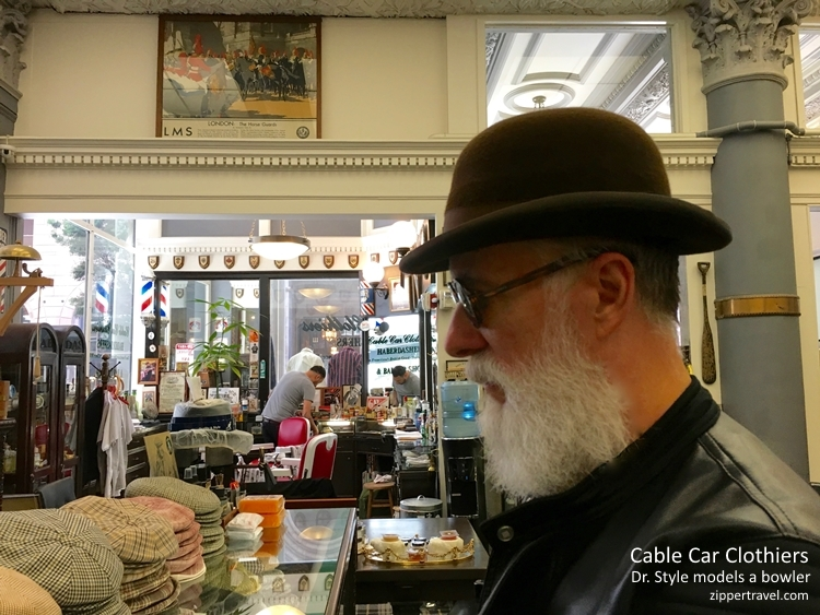 Dr Style wearing bowler Cable Car Clothiers hats San Francisco
