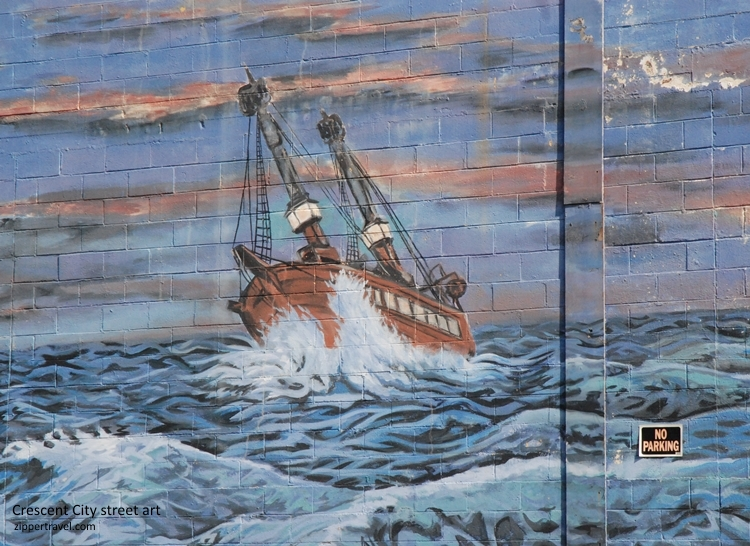 Crescent City California sail boat street art mural