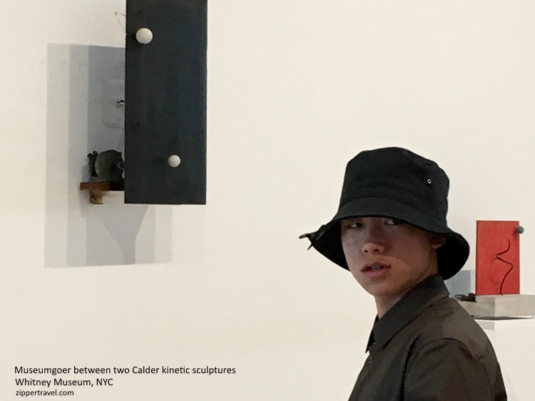 Boy with hat Calder exhibit Whitney Museum NYC