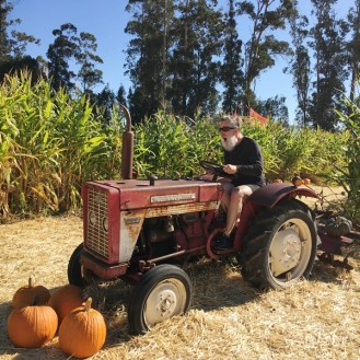 Dr Style aboard vintage tractor Stanly Lane pumpkin patch Napa California