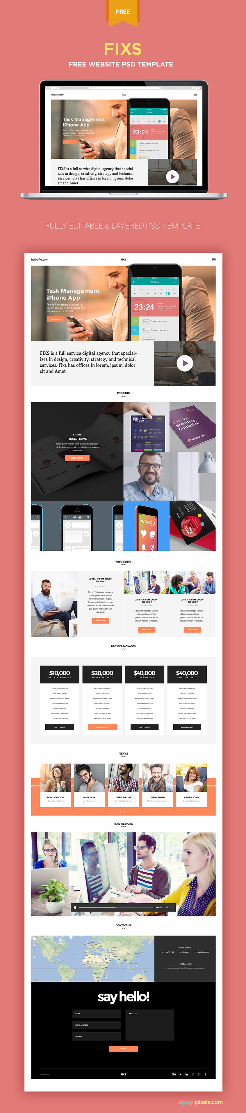 Unika view this free template ». Free Single Page Website Template Zippypixels