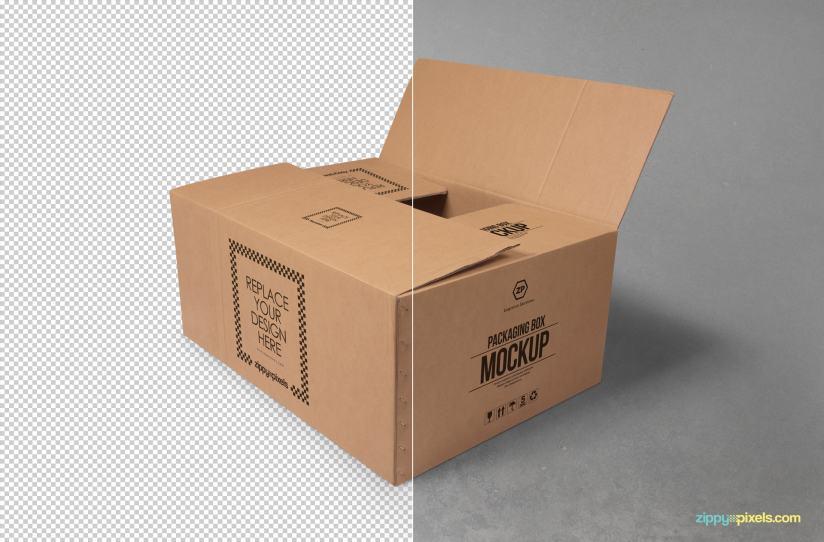 Download Free Cardboard Box Mockup   ZippyPixels