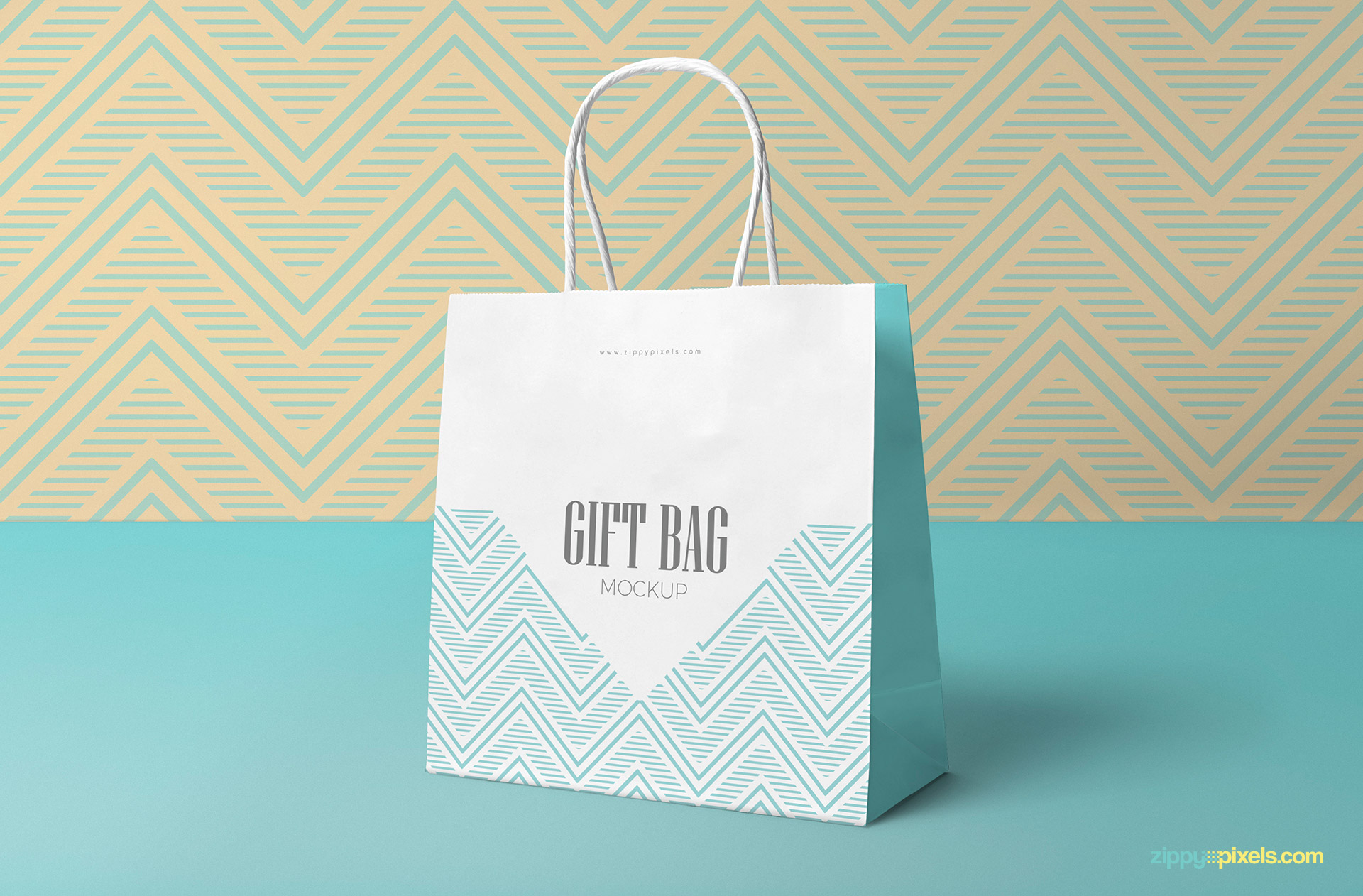 You can also change the color of the straps of the tote bag, the lanyard of id card, the outline of the cardholder, inner sides of both bags, lid of the cup and base of the cup. Free Attractive Gift Bag Mockup Zippypixels