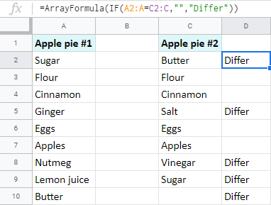 Find differences between two columns with the array function.