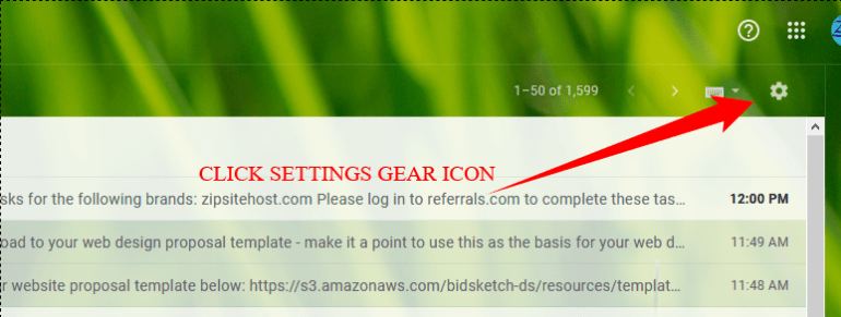 CLICK THE SETTINGS GEAR ICON
