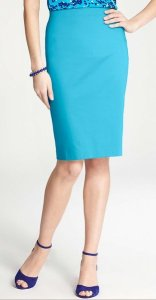Colorful pencil skirt - light blue
