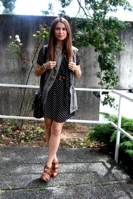 Long Utility vest with dress