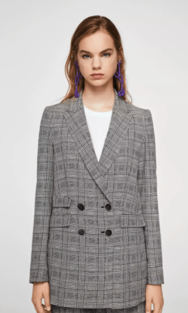 Glen plaid mango blazer