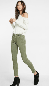 express high waisted olive pants