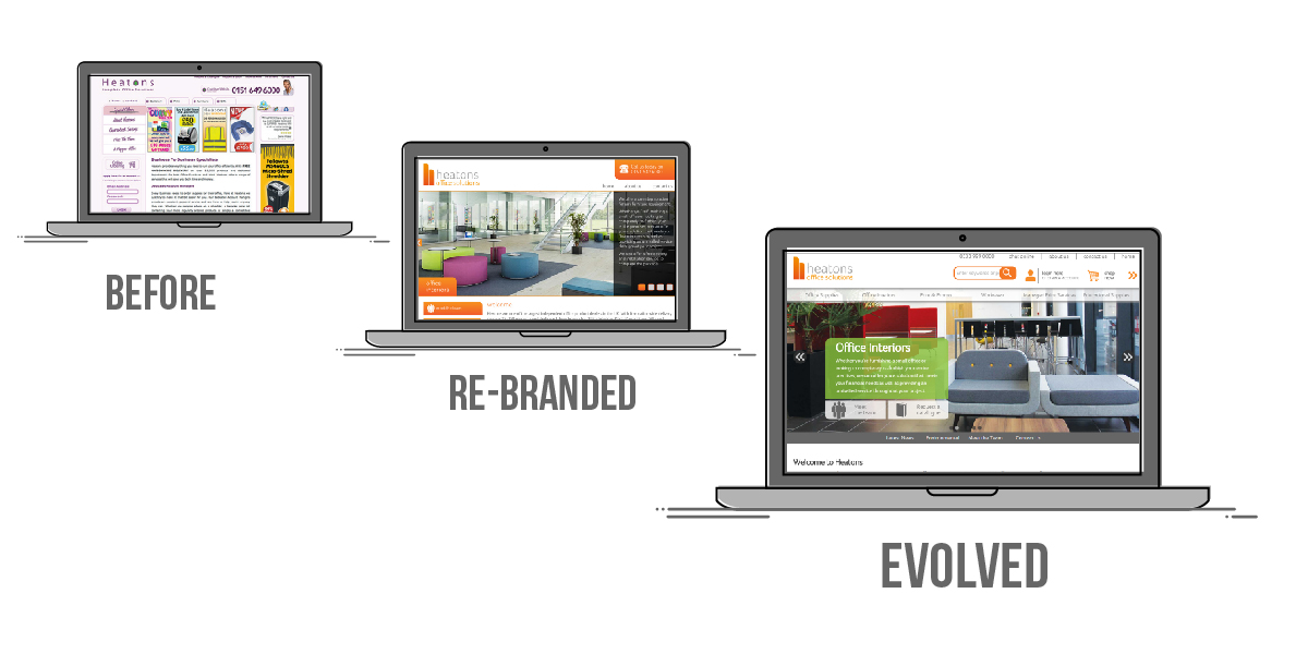 Image showing 3 different stages of Heatons website: Before, rebranded and evolved stages