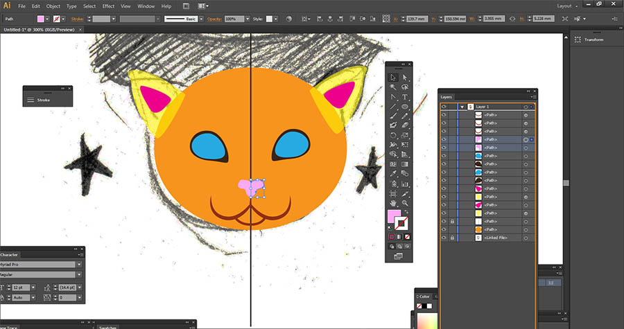 Adding detail to cat drawing using vector graphics