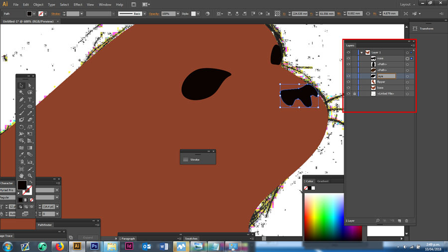 Creating a seal's nose using the pen tool