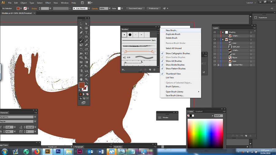 New calligraphic brush in Adobe Illustrator