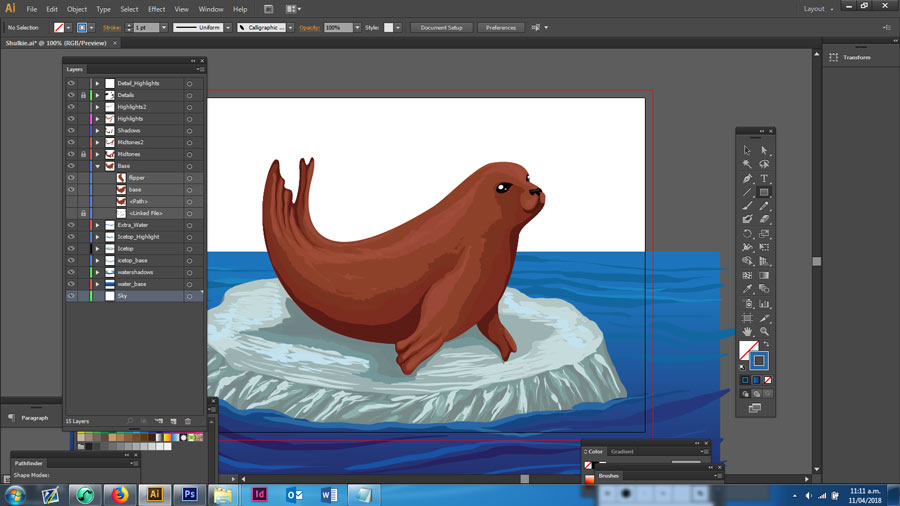 Finishing the seal drawing in Adobe Illustrator