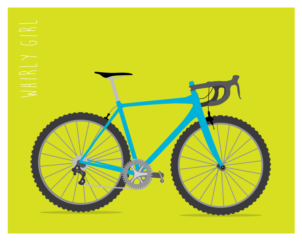 Zirkus Design | Vector Art | Bike | Whirly Girl Bicycle | Chartreuse + Turquoise