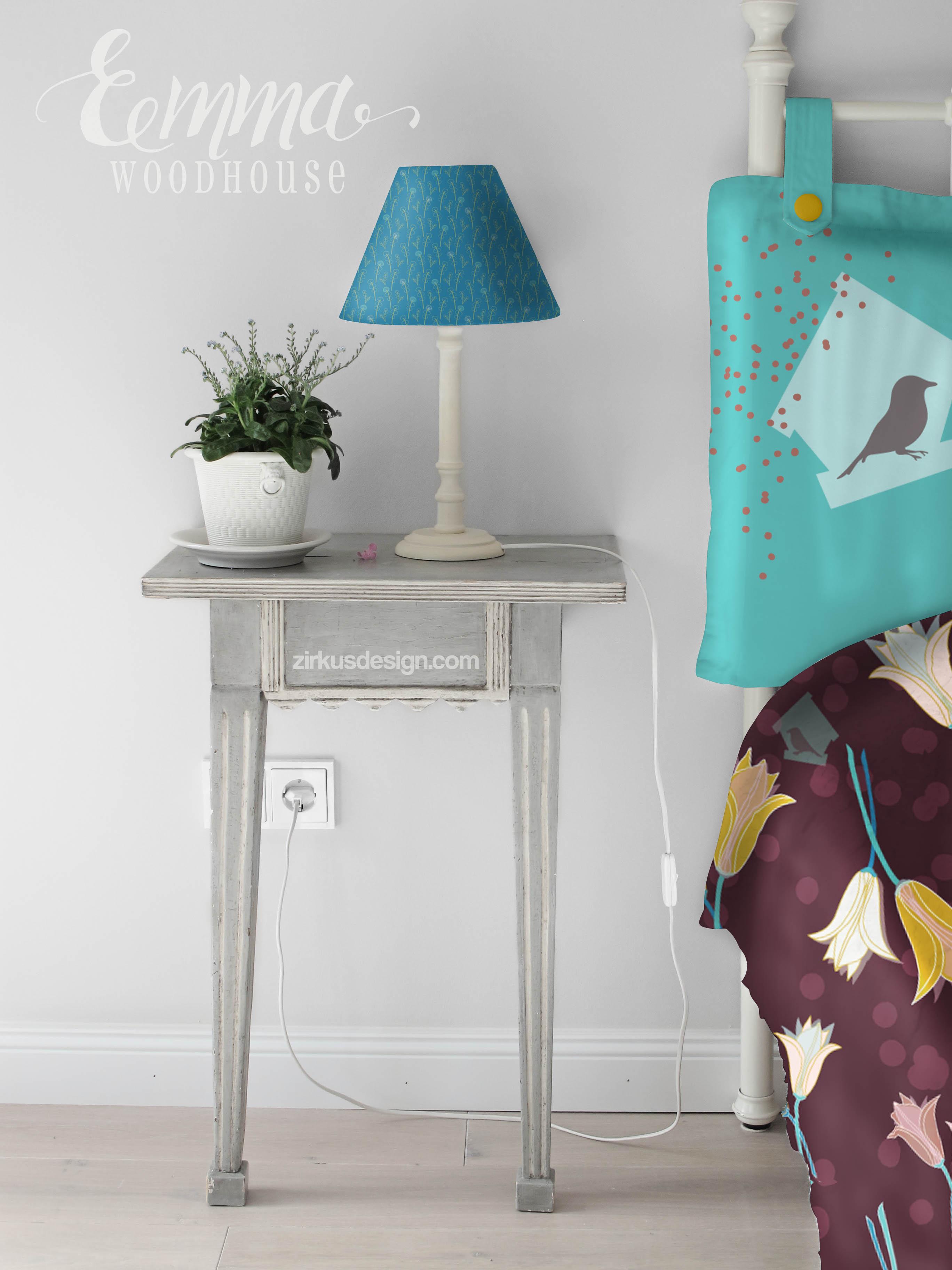 Zirkus Design | Emma Woodhouse Surfac Pattern Design Collection Bedroom Home Textiles Mockup v2