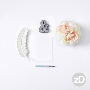 Zirkus Design | Photographing Flat Lay Product Mockup | Girl Desk Background with Flowers, Feather & Water Brush Pen