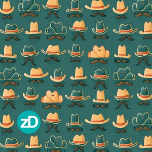 Zirkus Design | Cody Arizona Wild West Pattern Collection : Hats + Mustaches // Teal, Turquoise, Orange, Gold