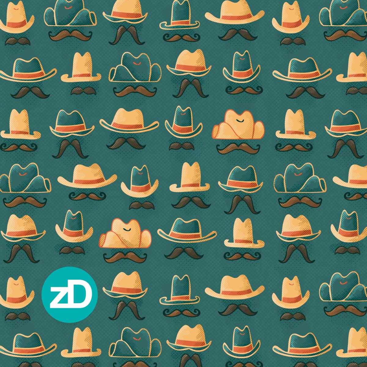Zirkus Design | Cody Arizona Wild West Pattern Collection : Hats + Mustaches // Teal, Turquoise, Orange, Gold
