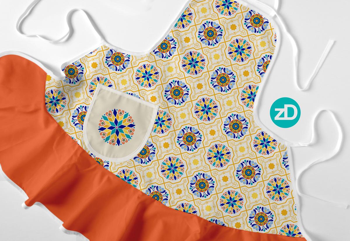 Zirkus Design   Cheery Modern Moorish Spanish Tiles Fabric Design - Apron Mockup