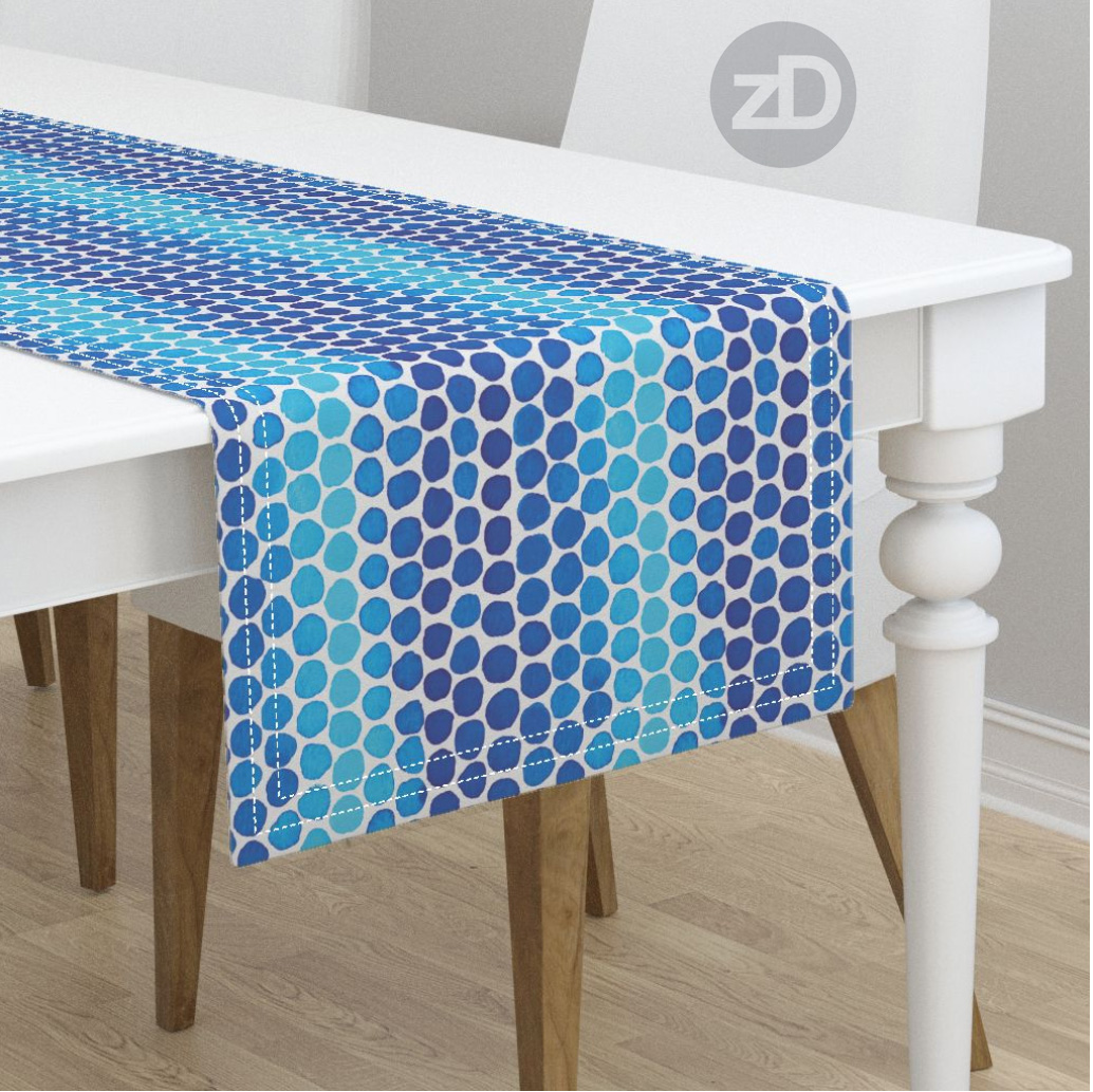 Zirkus Design | Indigo Vibes Summer Watercolor Surface Pattern Design Collection : Indigo Blue Polka Dots Table Runner by Roostery