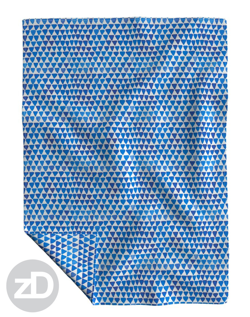 Zirkus Design | Indigo Vibes Summer Watercolor Surface Pattern Design Collection : Indigo Blue Upside Down Triangle Roostery Blanket Mockup