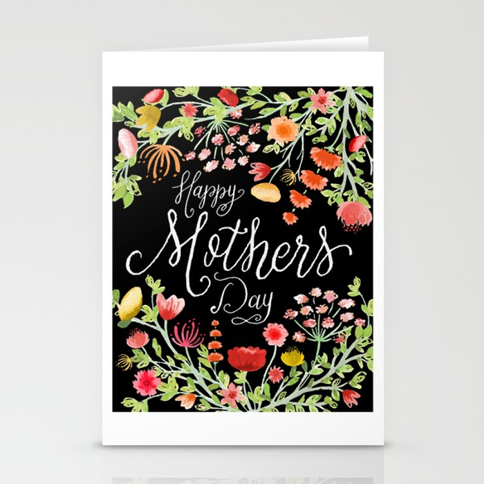 Zirkus Design   Hand Painted Elegant Watercolor Mother's Day Greeting Card (Happy Mother's Day stationery mockup)
