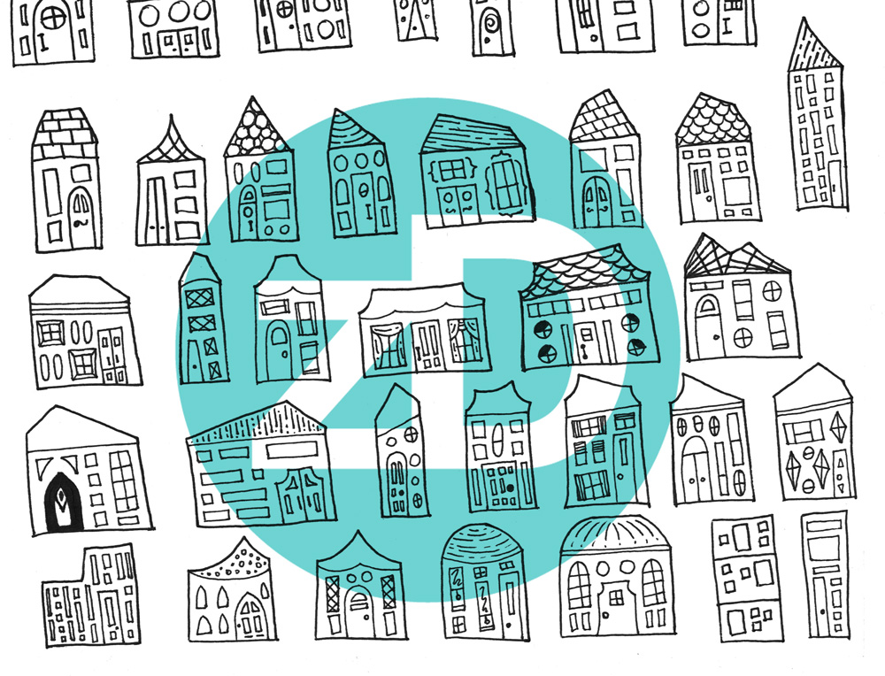 Zirkus Design | Starry Night in the City: Spoonflower Challenge Winner and New Pattern - City Houses Sketch