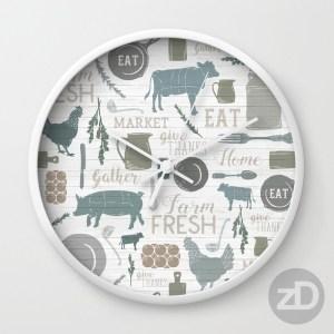 Zirkus Design | Sing for Your Supper: A Modern Farmhouse Pattern Design - Clock Mockup